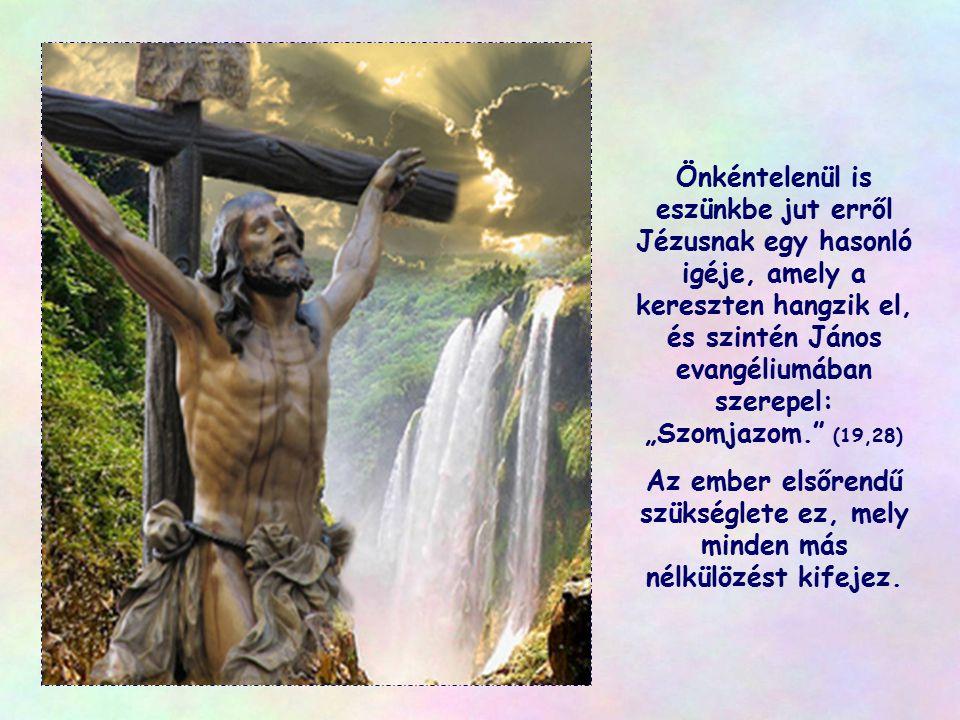 """Önkéntelenül is eszünkbe jut erről Jézusnak egy hasonló igéje, amely a kereszten hangzik el, és szintén János evangéliumában szerepel: """"Szomjazom. (19,28)"""