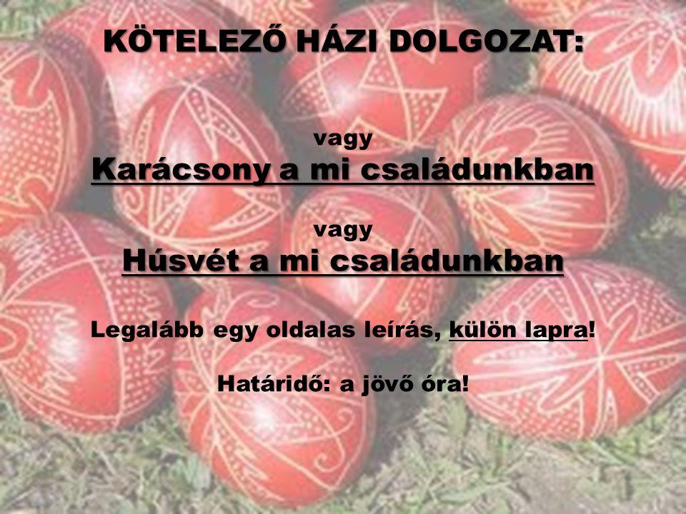 KÖTELEZŐ HÁZI DOLGOZAT: