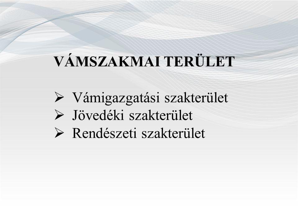 VÁMSZAKMAI TERÜLET Vámigazgatási szakterület Jövedéki szakterület Rendészeti szakterület