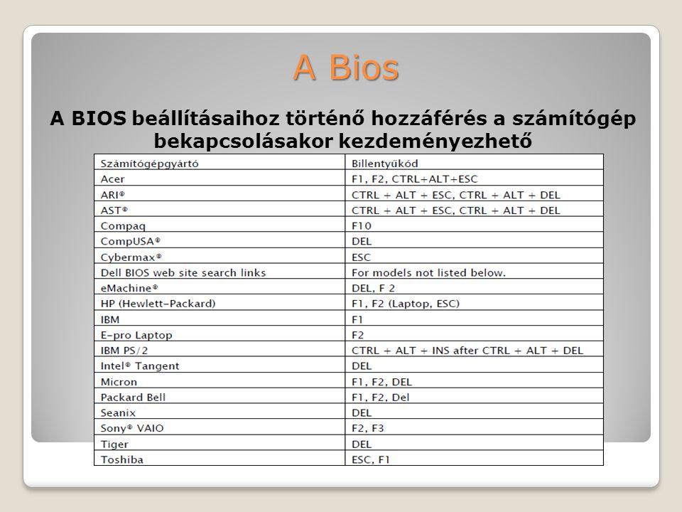 A Bios A BIOS beállításaihoz történő hozzáférés a számítógép bekapcsolásakor kezdeményezhető