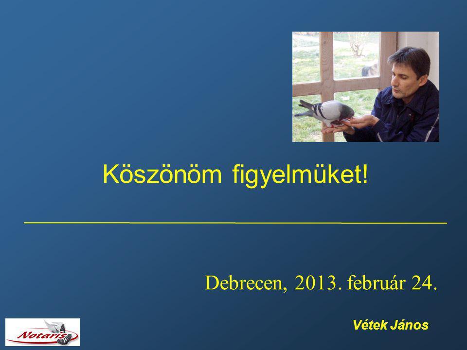Köszönöm figyelmüket! Debrecen, 2013. február 24. Vétek János