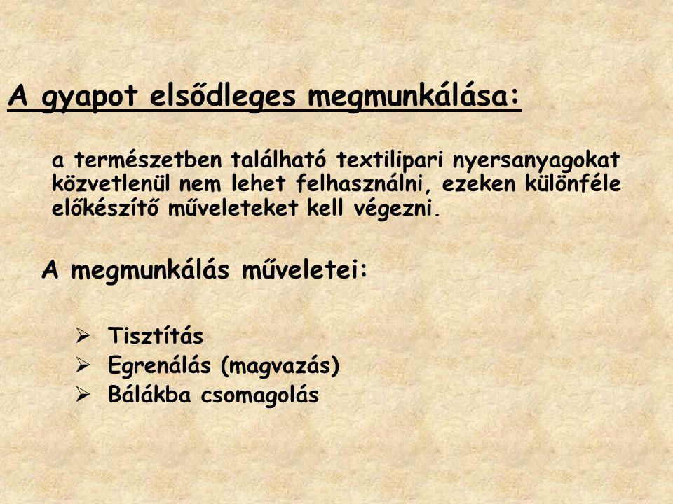 A gyapot elsődleges megmunkálása: