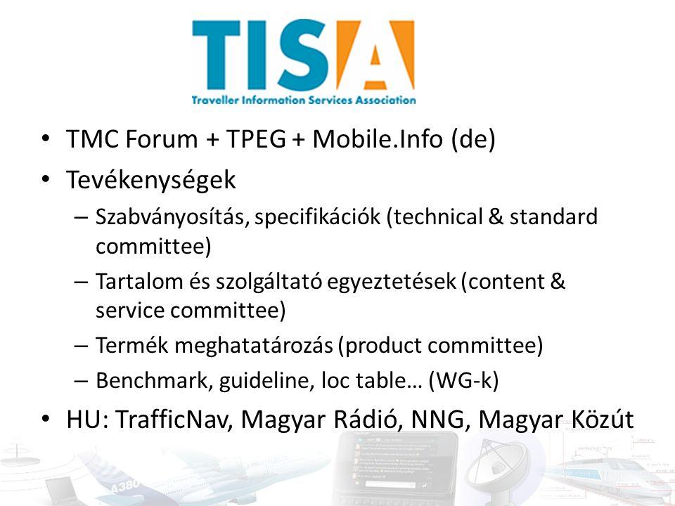 TMC Forum + TPEG + Mobile.Info (de) Tevékenységek