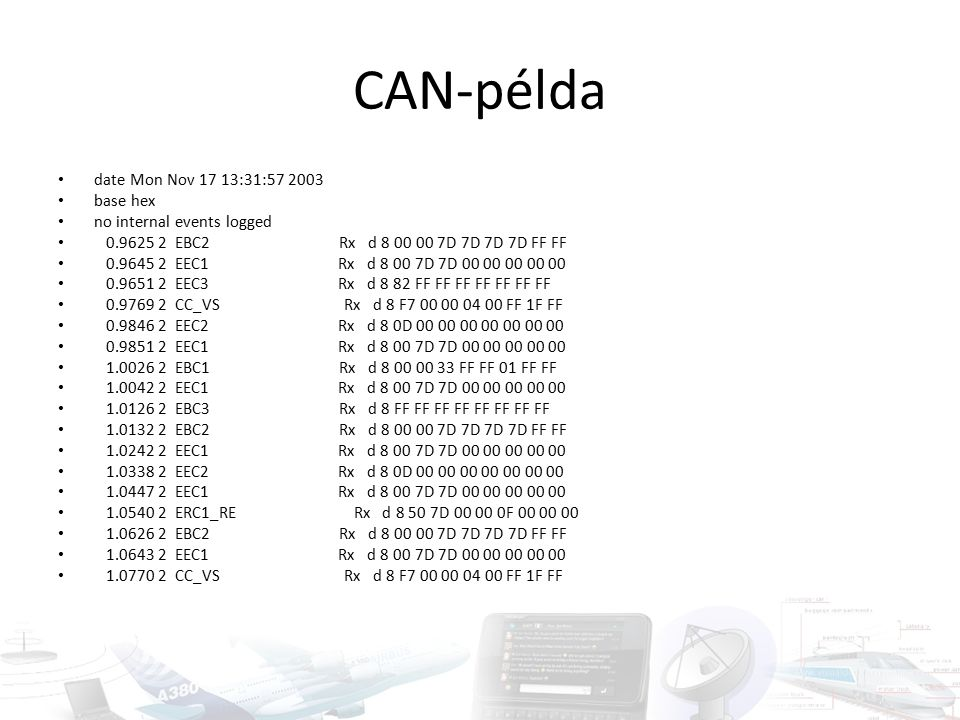 CAN-példa date Mon Nov 17 13:31:57 2003 base hex