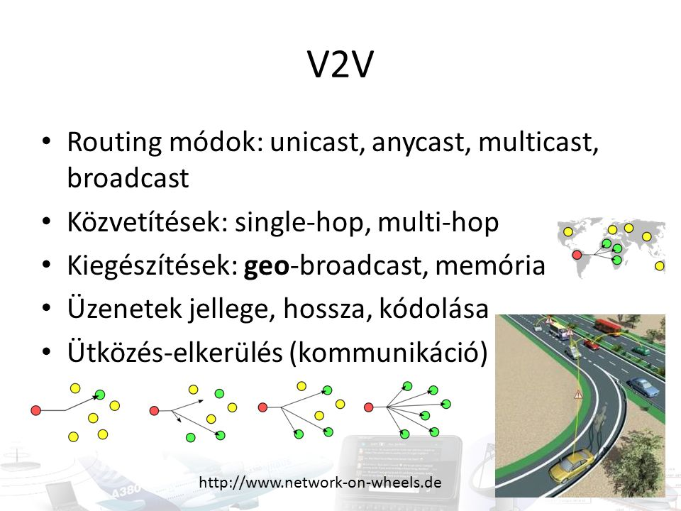 V2V Routing módok: unicast, anycast, multicast, broadcast