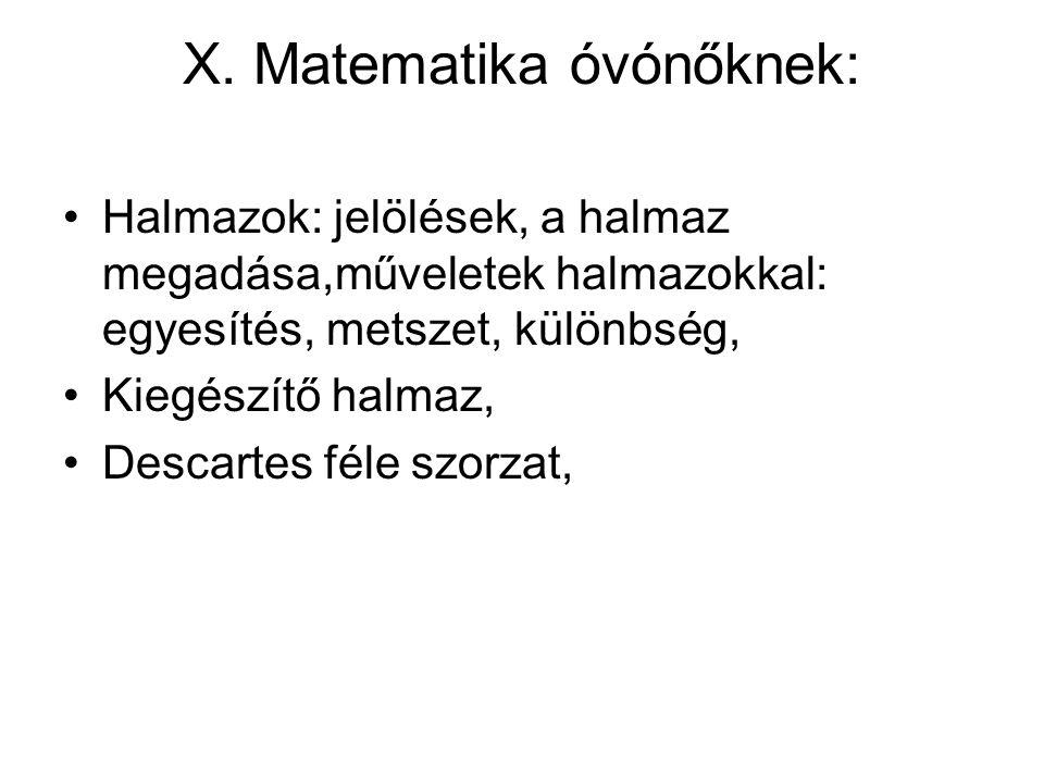 X. Matematika óvónőknek: