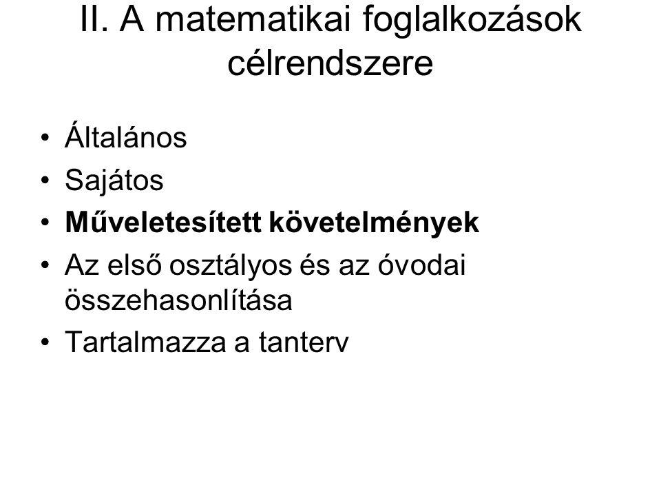 II. A matematikai foglalkozások célrendszere