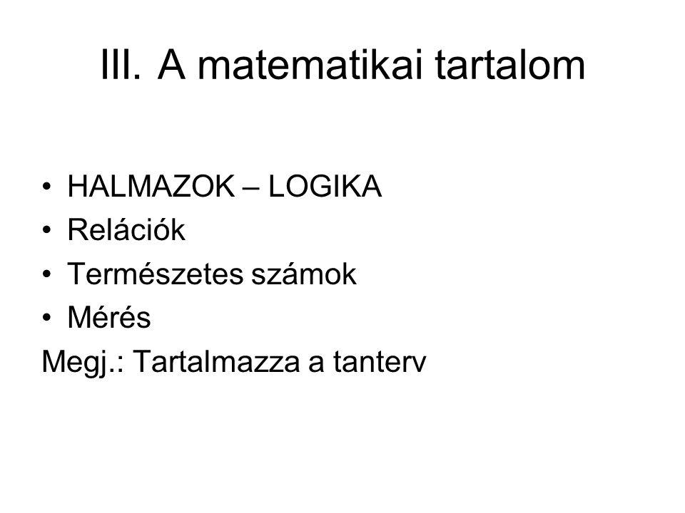 III. A matematikai tartalom