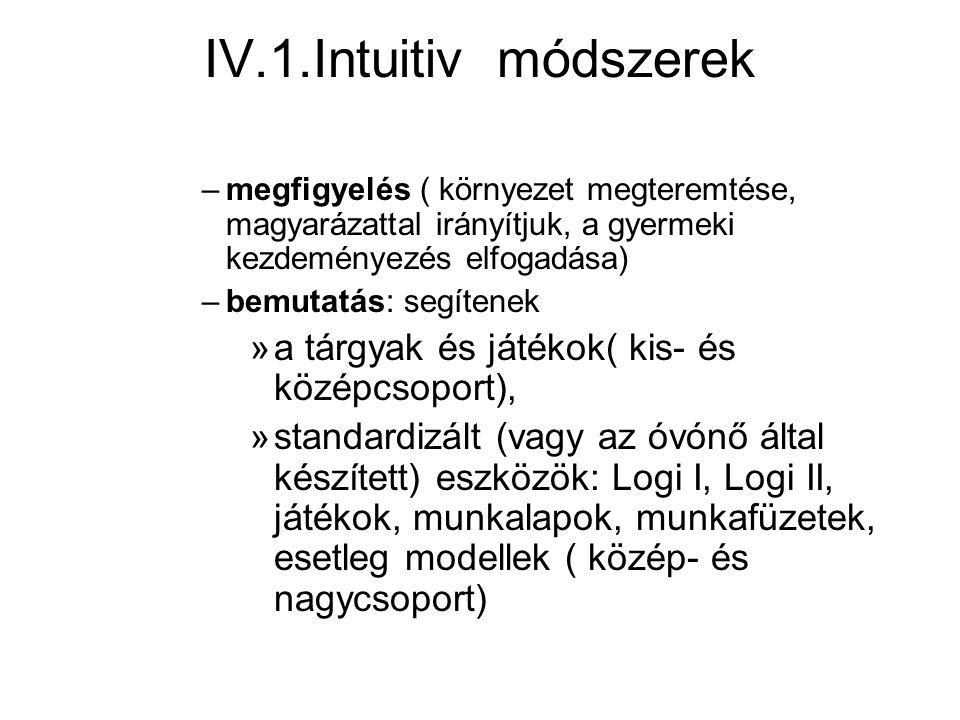 IV.1.Intuitiv módszerek a tárgyak és játékok( kis- és középcsoport),