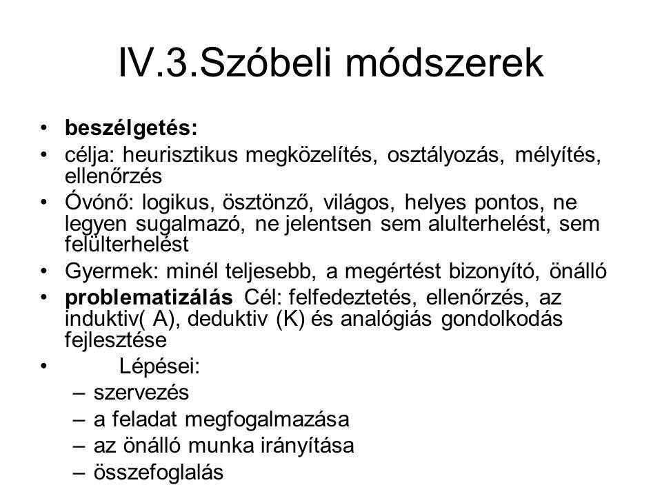 IV.3.Szóbeli módszerek beszélgetés: