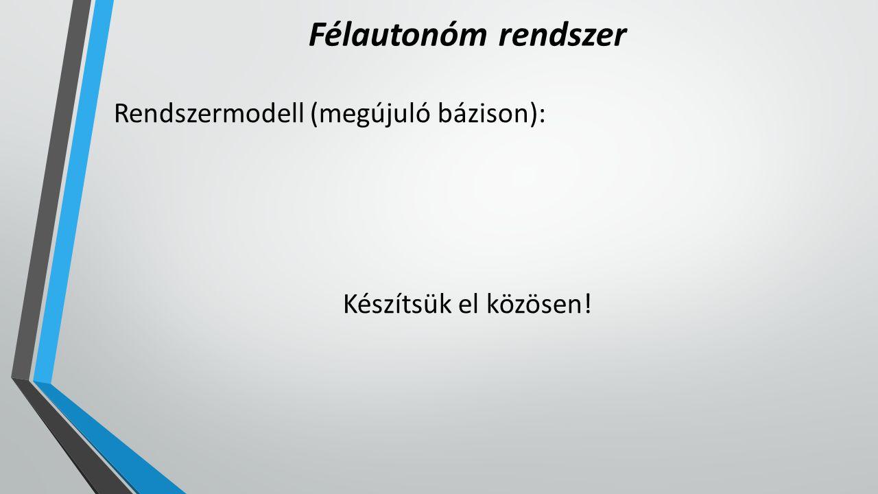 Félautonóm rendszer Rendszermodell (megújuló bázison): Készítsük el közösen!