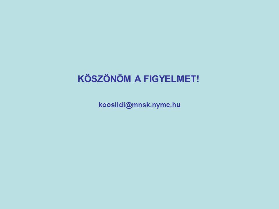 KÖSZÖNÖM A FIGYELMET! koosildi@mnsk.nyme.hu