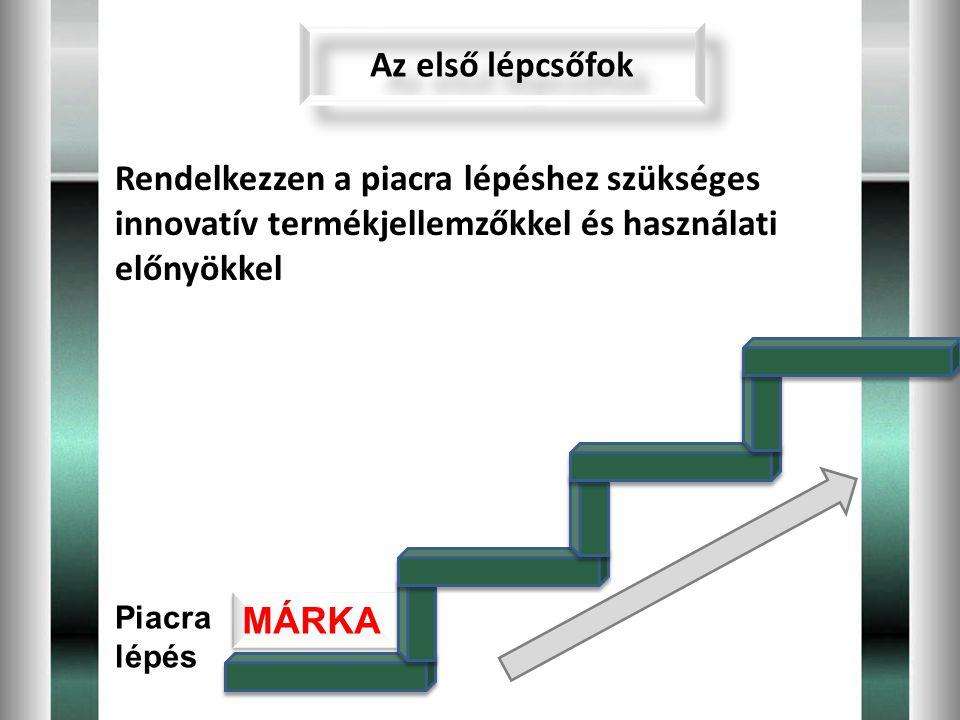 Az első lépcsőfok Rendelkezzen a piacra lépéshez szükséges innovatív termékjellemzőkkel és használati előnyökkel.