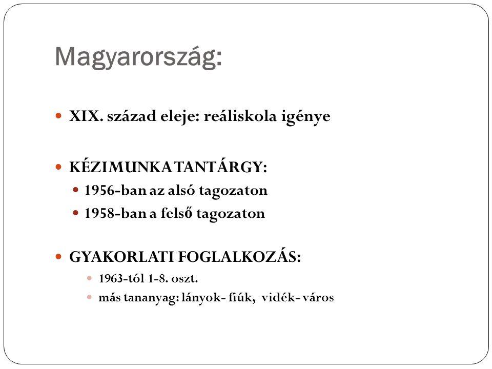 Magyarország: XIX. század eleje: reáliskola igénye KÉZIMUNKA TANTÁRGY: