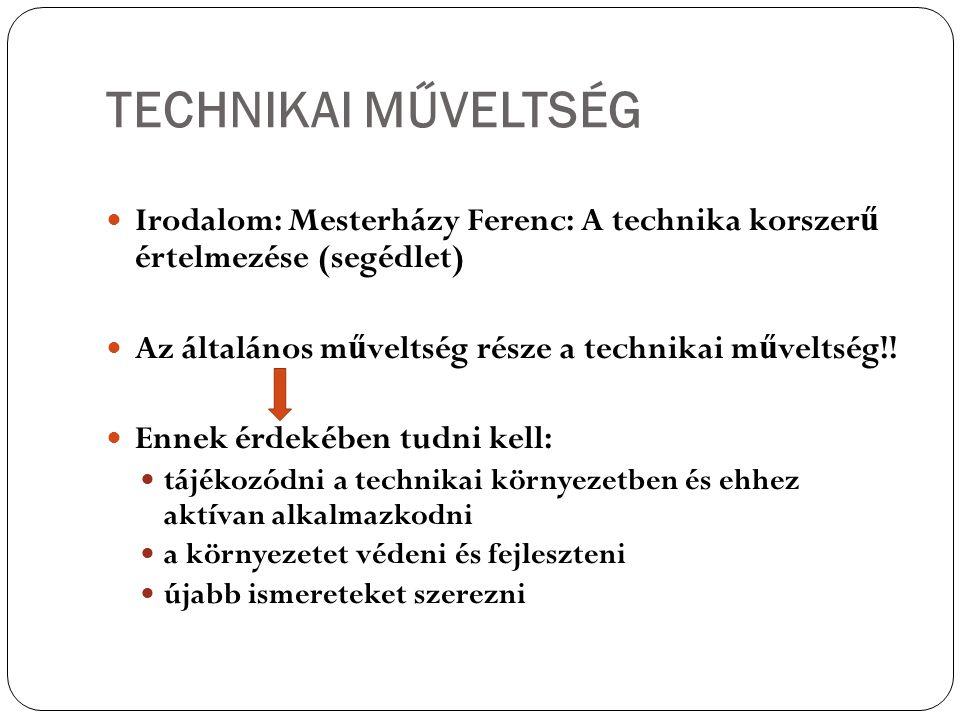 TECHNIKAI MŰVELTSÉG Irodalom: Mesterházy Ferenc: A technika korszerű értelmezése (segédlet) Az általános műveltség része a technikai műveltség!!
