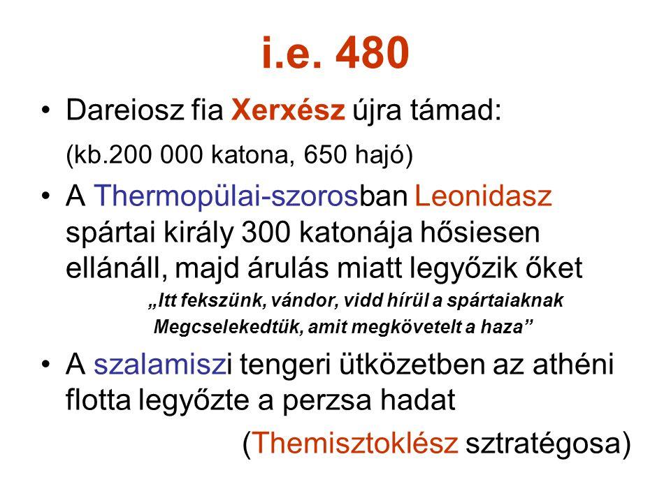 i.e. 480 Dareiosz fia Xerxész újra támad:
