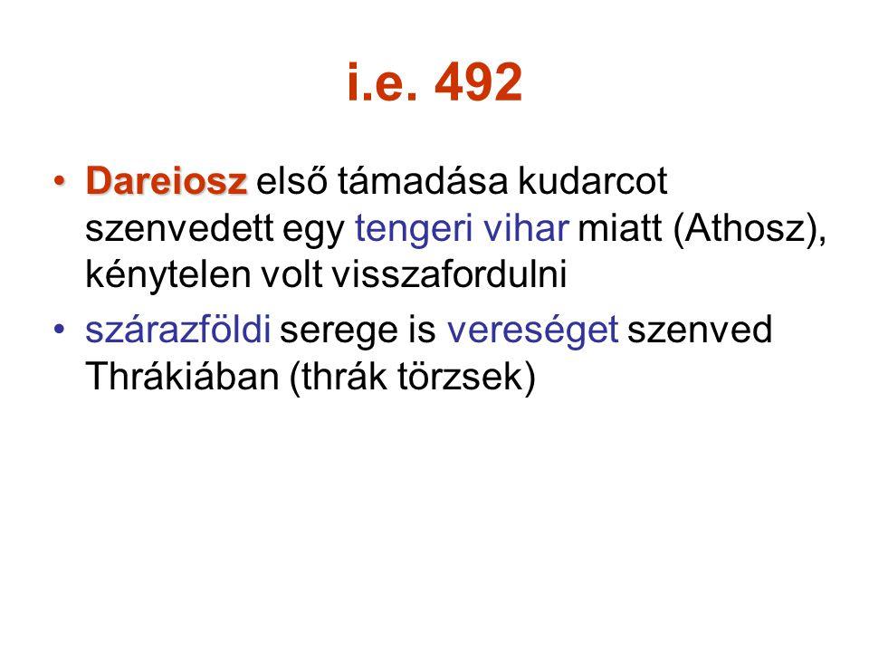 i.e. 492 Dareiosz első támadása kudarcot szenvedett egy tengeri vihar miatt (Athosz), kénytelen volt visszafordulni.