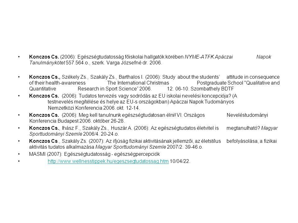 Konczos Cs. (2006): Egészségtudatosság főiskolai hallgatók körében NYME-ATFK Apáczai Napok Tanulmánykötet 557.564.o., szerk. Varga Józsefné dr. 2006.