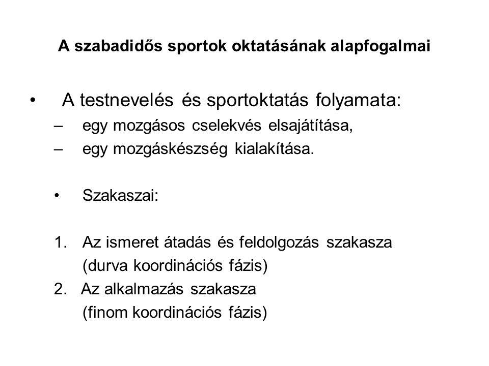 A szabadidős sportok oktatásának alapfogalmai
