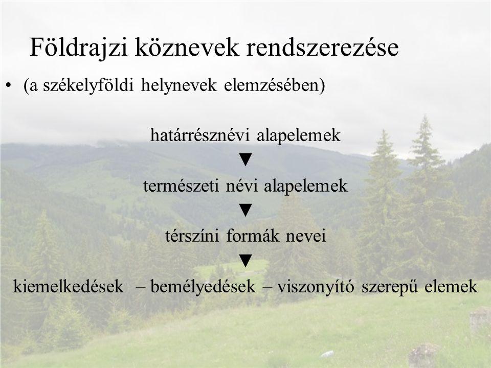 Földrajzi köznevek rendszerezése