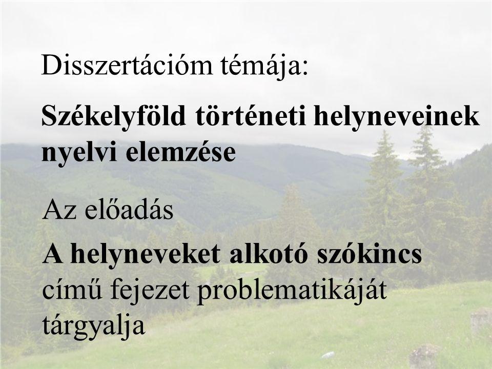 Disszertációm témája: Székelyföld történeti helyneveinek nyelvi elemzése