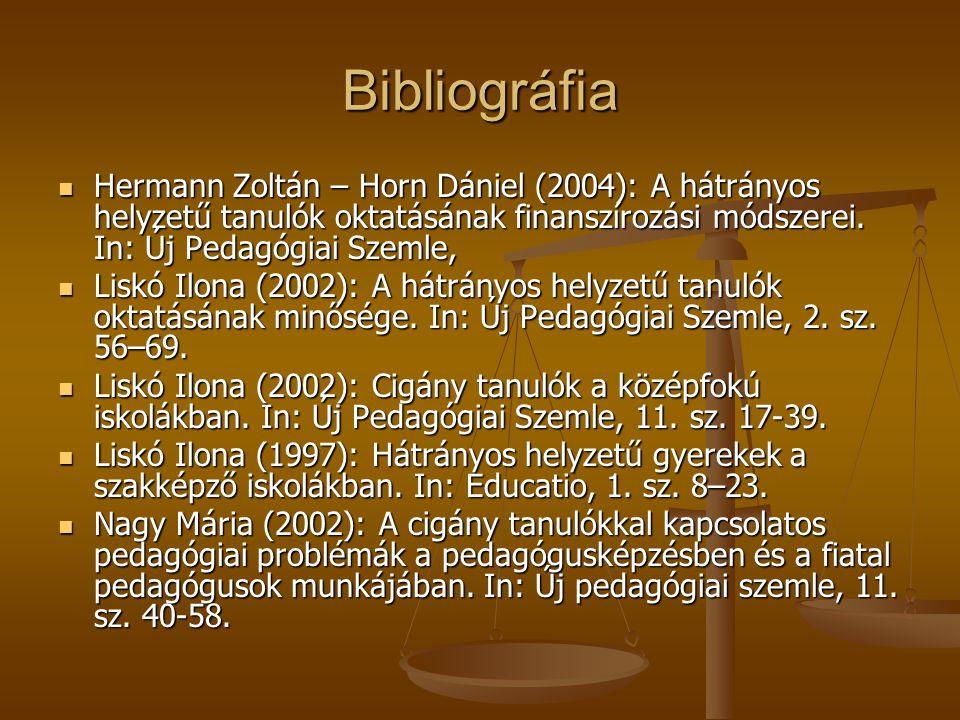 Bibliográfia Hermann Zoltán – Horn Dániel (2004): A hátrányos helyzetű tanulók oktatásának finanszírozási módszerei. In: Új Pedagógiai Szemle,