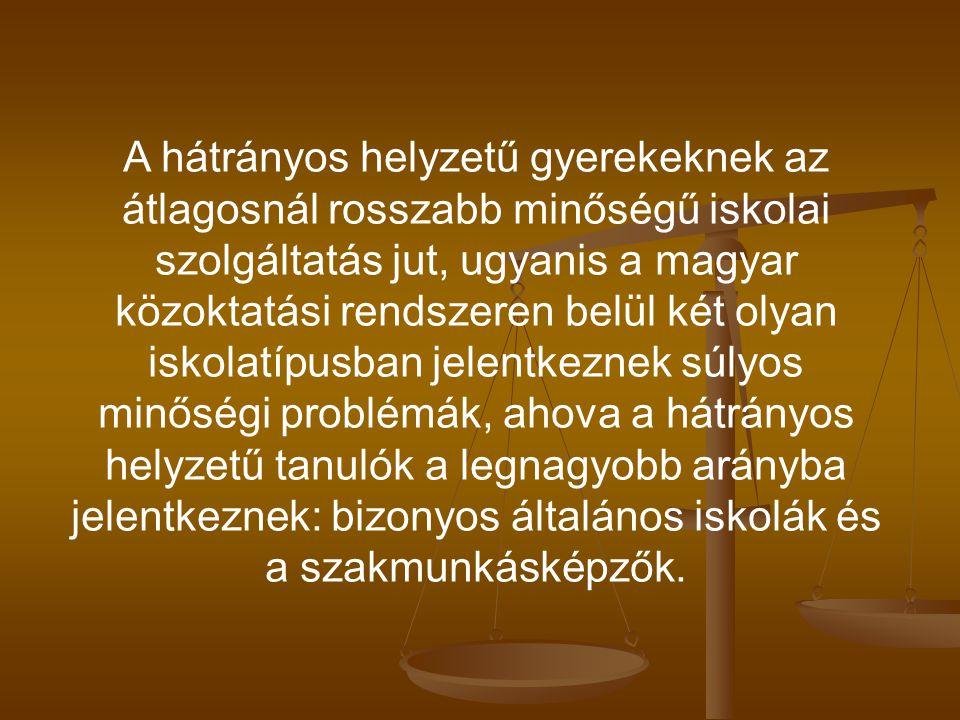 A hátrányos helyzetű gyerekeknek az átlagosnál rosszabb minőségű iskolai szolgáltatás jut, ugyanis a magyar közoktatási rendszeren belül két olyan iskolatípusban jelentkeznek súlyos minőségi problémák, ahova a hátrányos helyzetű tanulók a legnagyobb arányba jelentkeznek: bizonyos általános iskolák és a szakmunkásképzők.