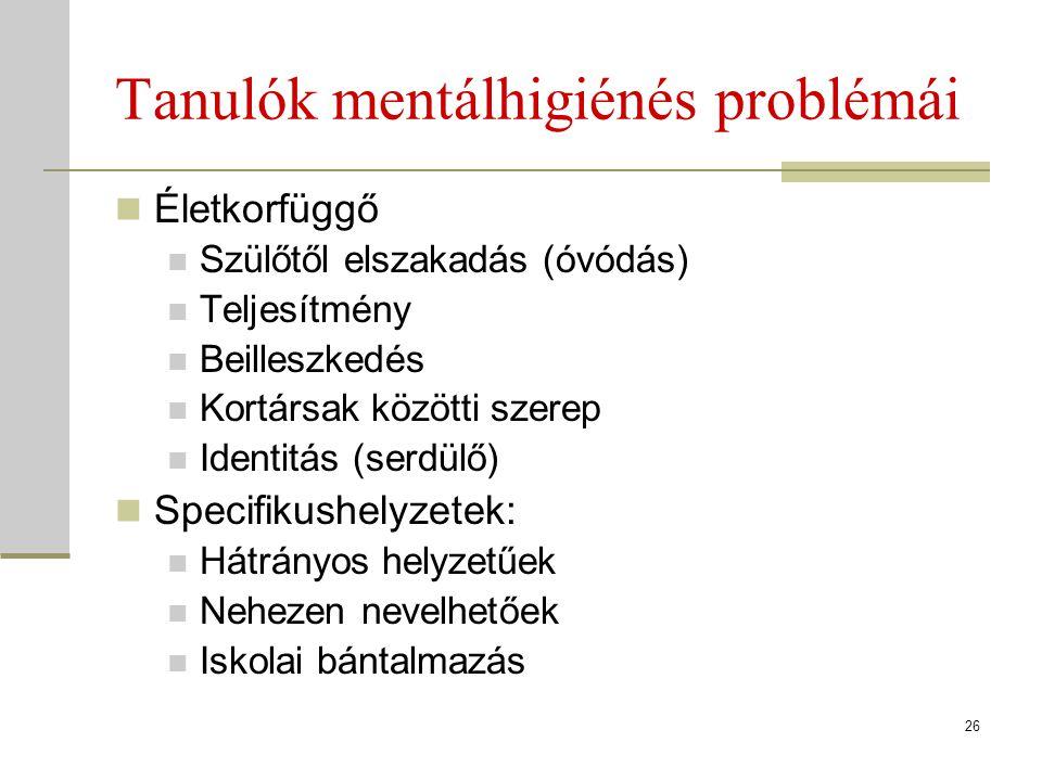 Tanulók mentálhigiénés problémái