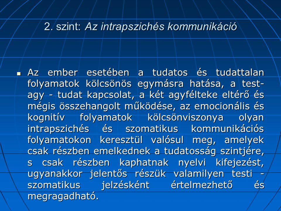 2. szint: Az intrapszichés kommunikáció