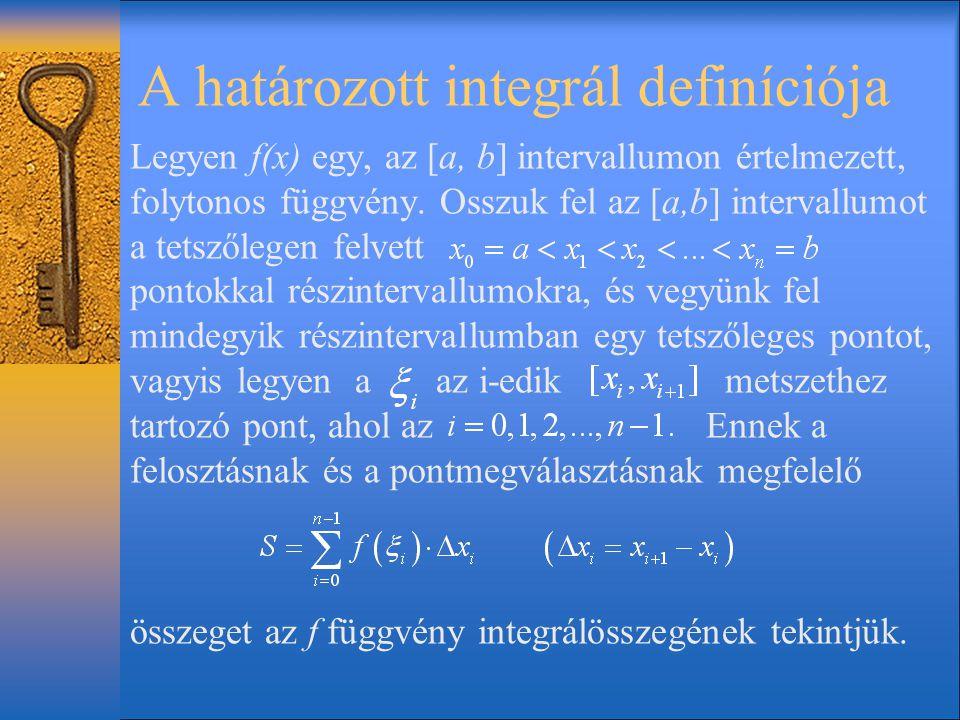 A határozott integrál definíciója