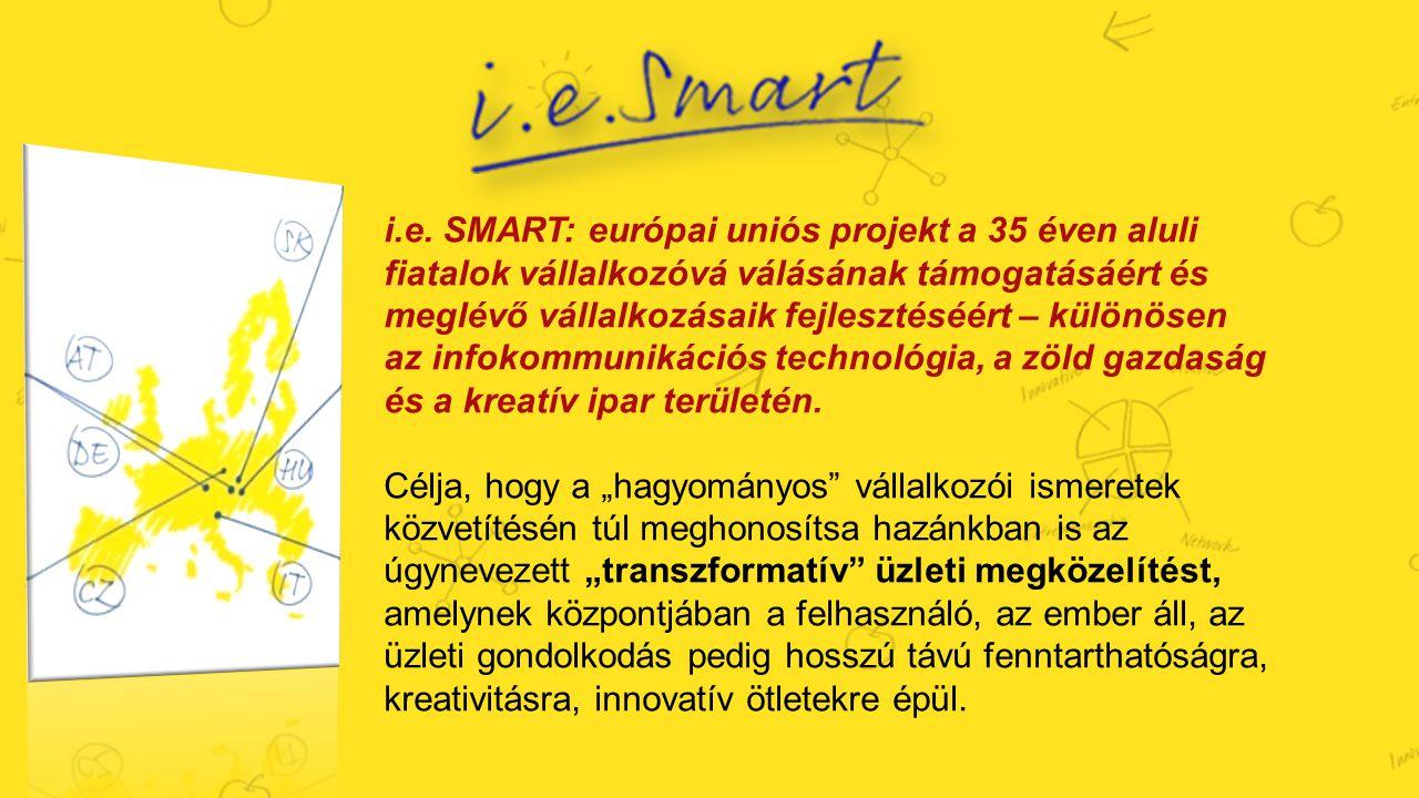 i.e. SMART: európai uniós projekt a 35 éven aluli fiatalok vállalkozóvá válásának támogatásáért és meglévő vállalkozásaik fejlesztéséért – különösen az infokommunikációs technológia, a zöld gazdaság és a kreatív ipar területén.