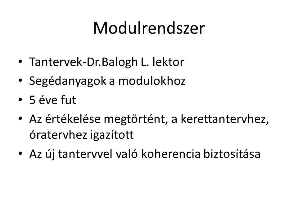 Modulrendszer Tantervek-Dr.Balogh L. lektor Segédanyagok a modulokhoz