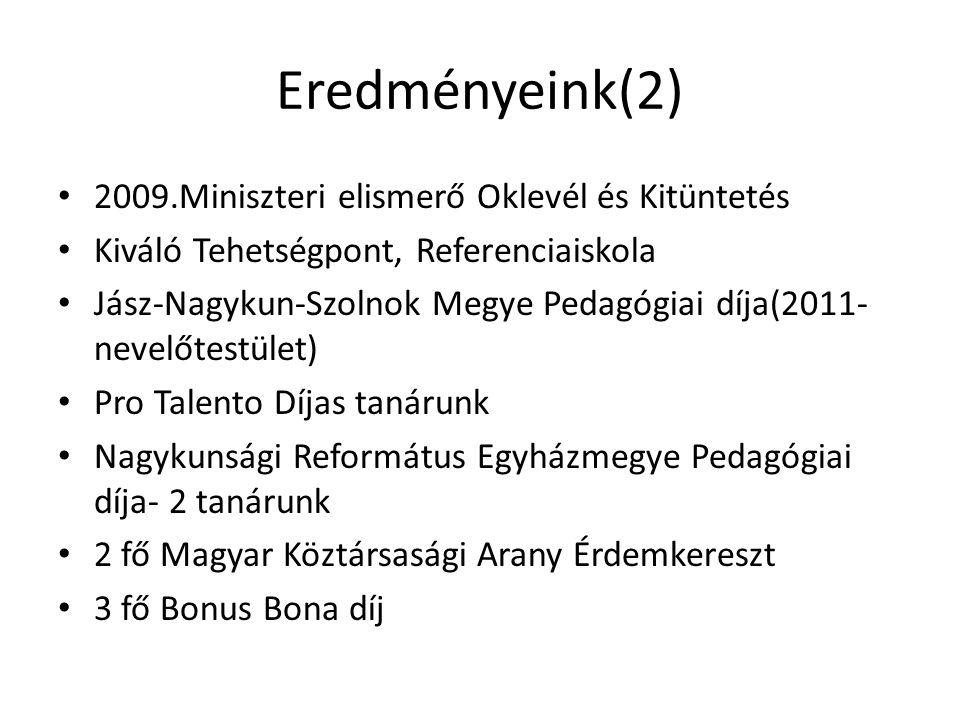 Eredményeink(2) 2009.Miniszteri elismerő Oklevél és Kitüntetés