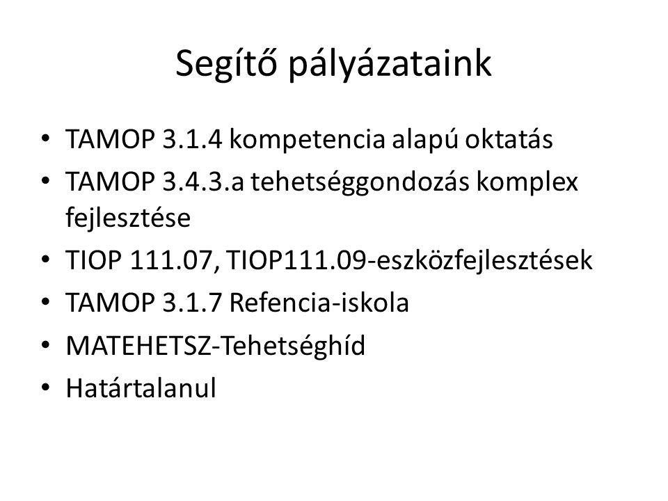 Segítő pályázataink TAMOP 3.1.4 kompetencia alapú oktatás