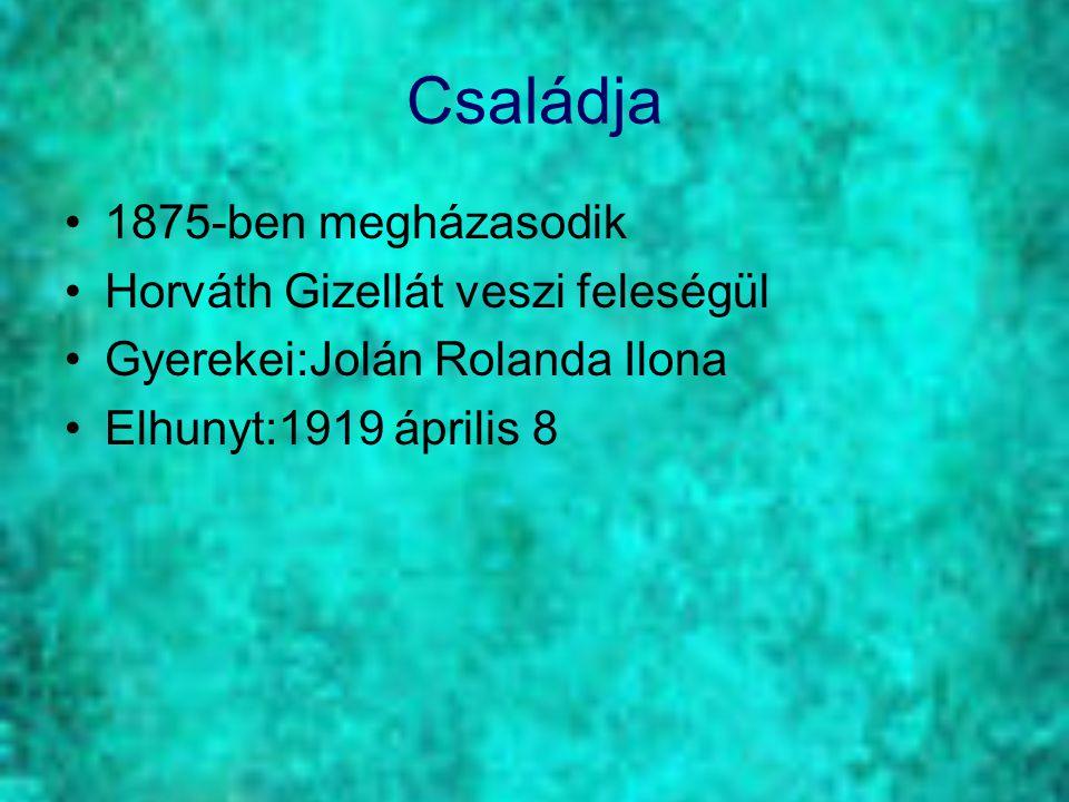 Családja 1875-ben megházasodik Horváth Gizellát veszi feleségül