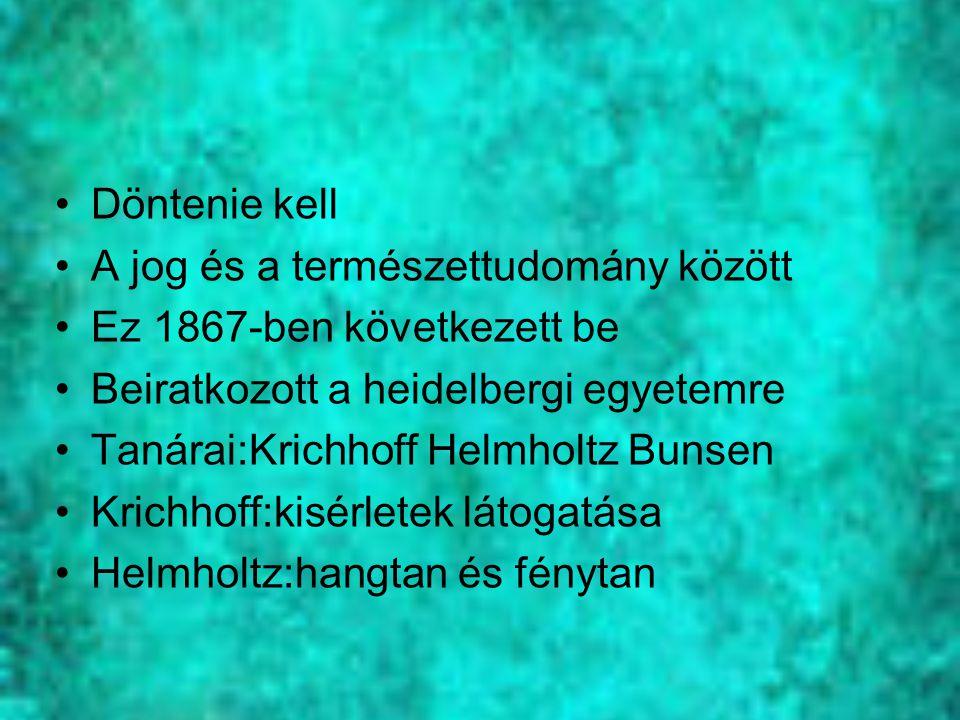 Döntenie kell A jog és a természettudomány között. Ez 1867-ben következett be. Beiratkozott a heidelbergi egyetemre.