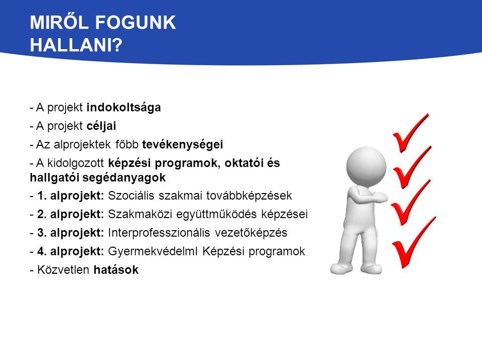 Miről fogunk hallani - A projekt indokoltsága - A projekt céljai