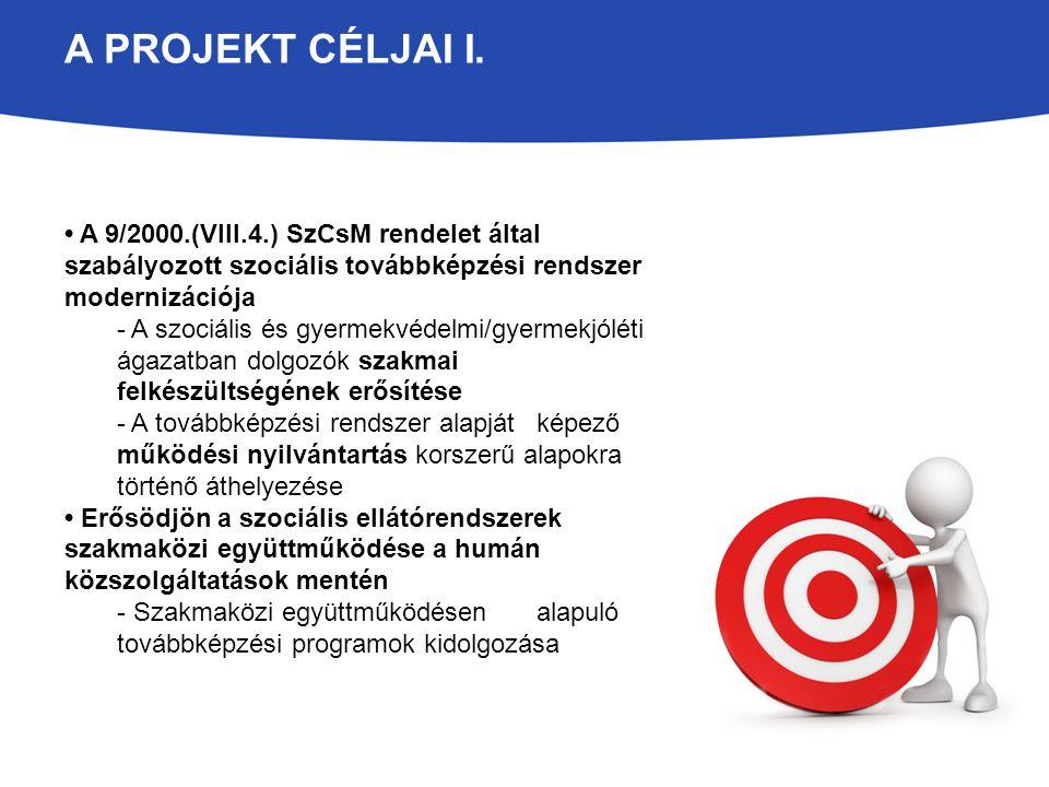A projekt céljai I. • A 9/2000.(VIII.4.) SzCsM rendelet által szabályozott szociális továbbképzési rendszer modernizációja.
