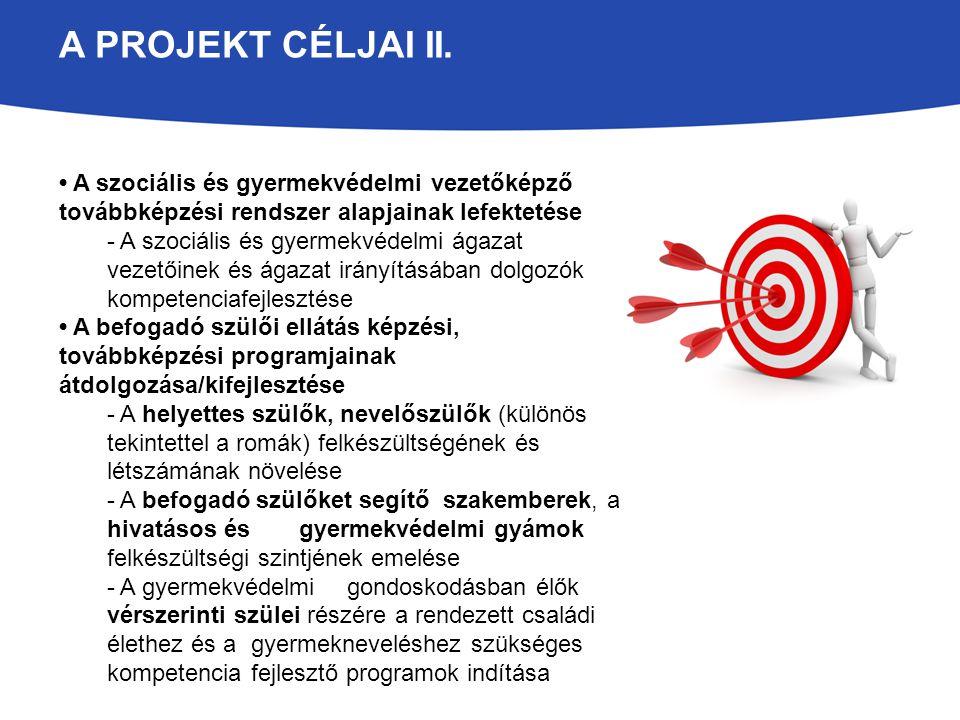 A projekt céljai II. • A szociális és gyermekvédelmi vezetőképző továbbképzési rendszer alapjainak lefektetése.