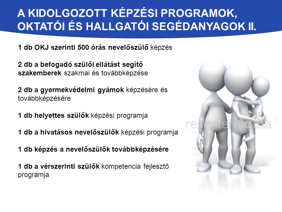 A kidolgozott képzési programok, oktatói és hallgatói segédanyagok II.