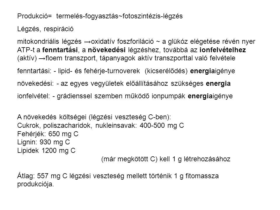 Produkció= termelés-fogyasztás~fotoszintézis-légzés