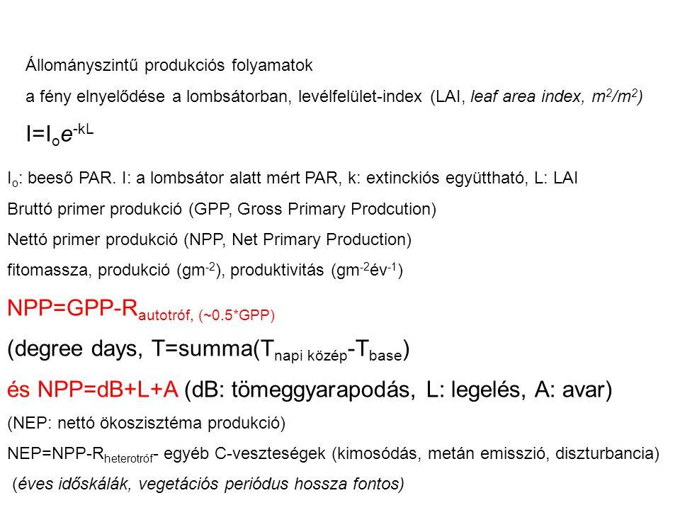 NPP=GPP-Rautotróf, (~0.5*GPP) (degree days, T=summa(Tnapi közép-Tbase)