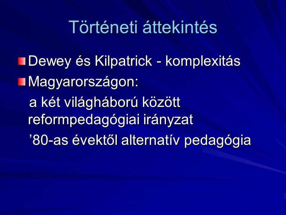Történeti áttekintés Dewey és Kilpatrick - komplexitás Magyarországon: