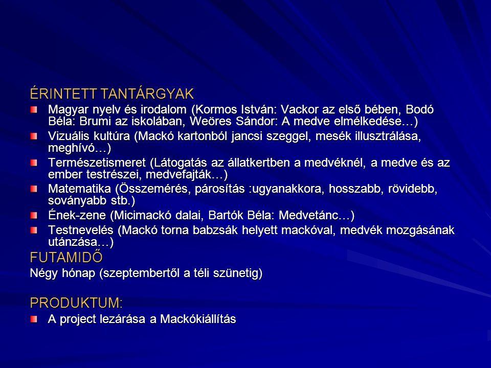 ÉRINTETT TANTÁRGYAK FUTAMIDŐ PRODUKTUM: