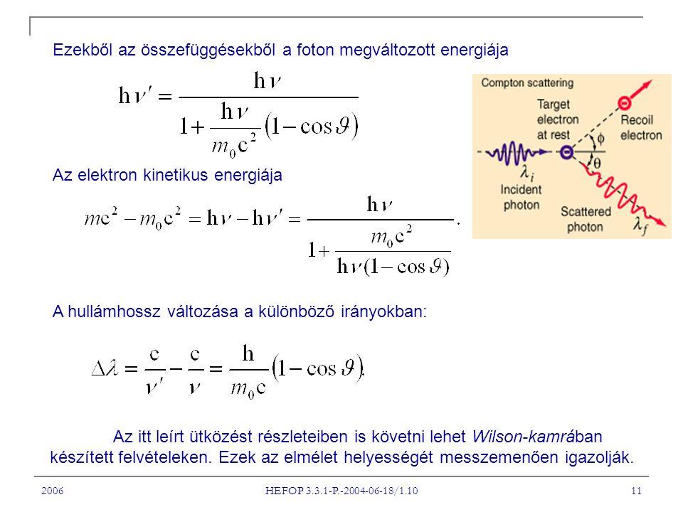 Ezekből az összefüggésekből a foton megváltozott energiája
