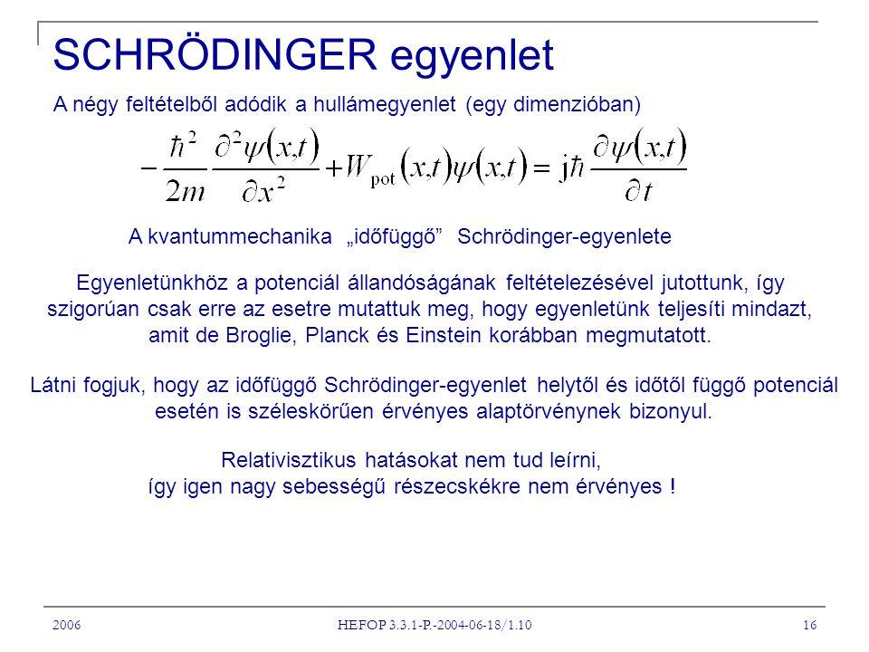 """SCHRÖDINGER egyenlet A négy feltételből adódik a hullámegyenlet (egy dimenzióban) A kvantummechanika """"időfüggő Schrödinger-egyenlete."""