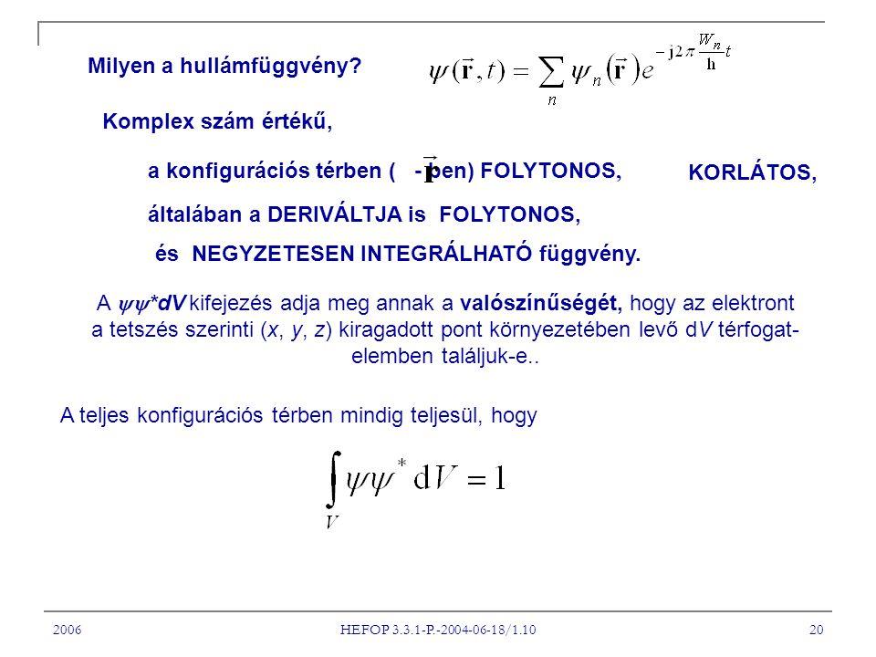 A *dV kifejezés adja meg annak a valószínűségét, hogy az elektront