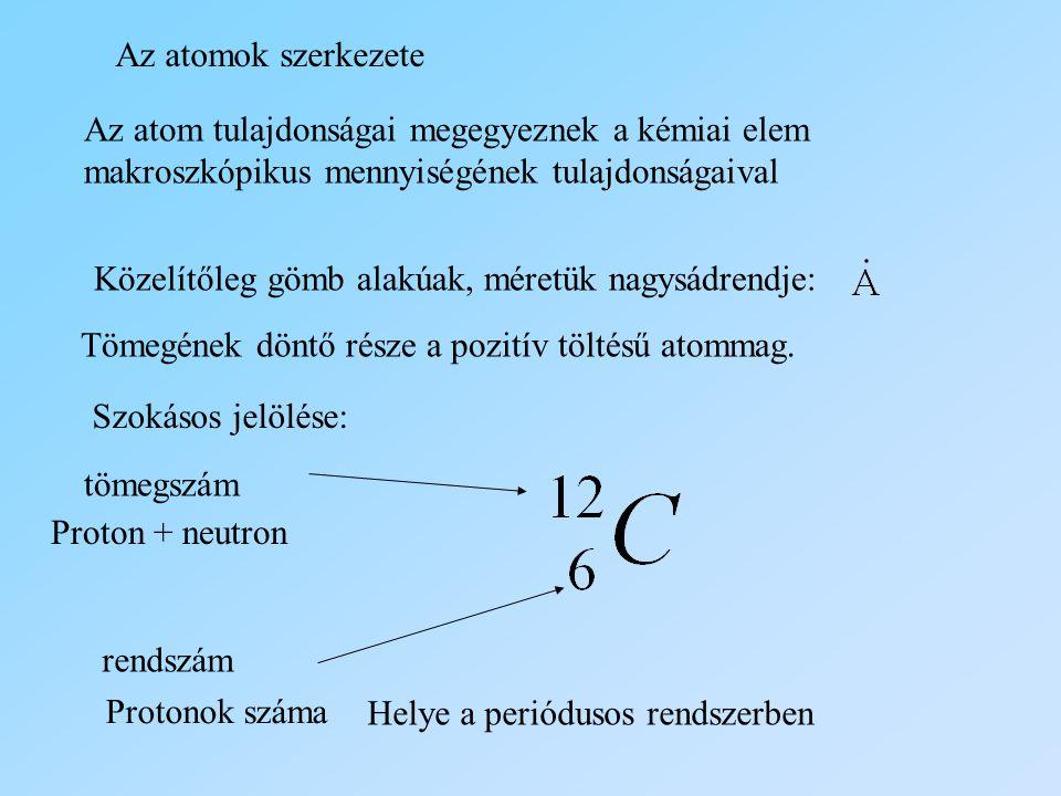 Az atomok szerkezete Az atom tulajdonságai megegyeznek a kémiai elem makroszkópikus mennyiségének tulajdonságaival.