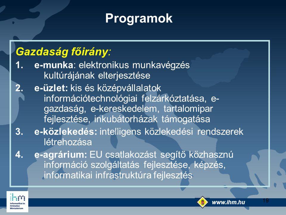 Programok Gazdaság főirány: