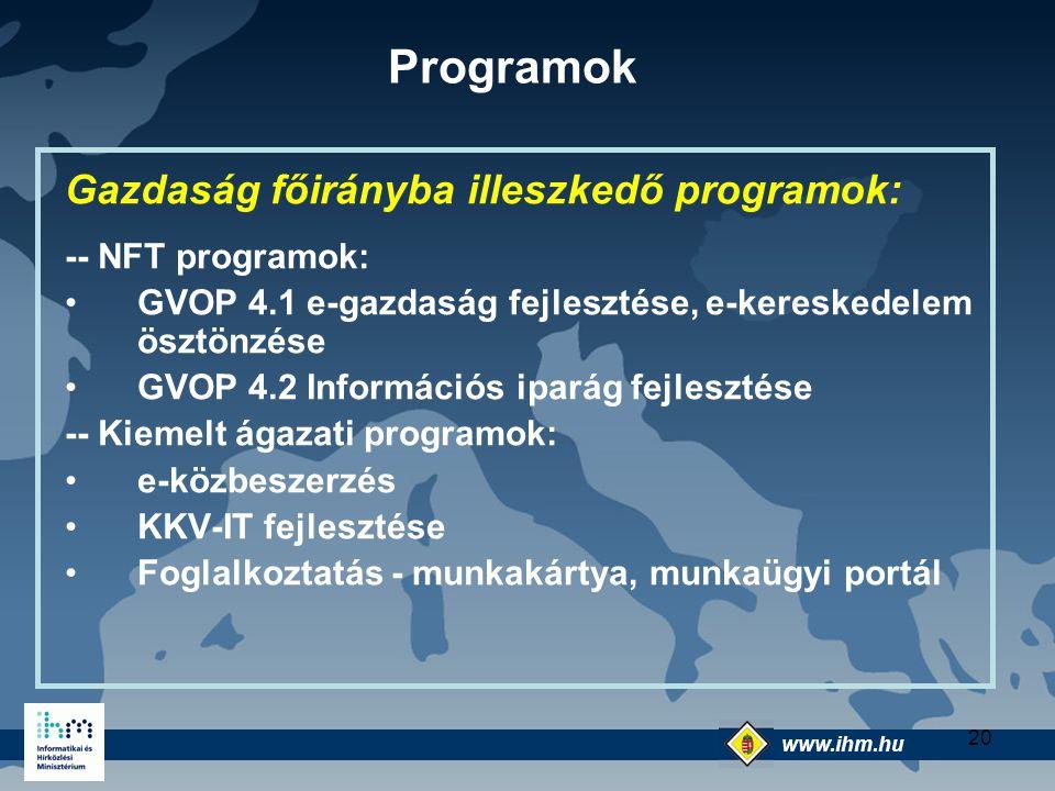 Programok Gazdaság főirányba illeszkedő programok: -- NFT programok: